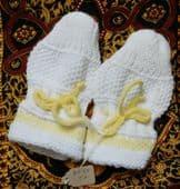 Vintage childs mittens Viyella Royalist UNUSED 1950s toddler gloves yellow trim